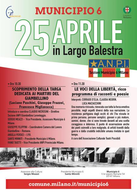 25 aprile 2021, Festa della Liberazione, iniziative in zona Porta Genova